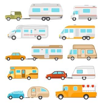 Freizeitfahrzeug icons set