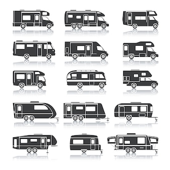 Freizeitfahrzeug schwarze symbole
