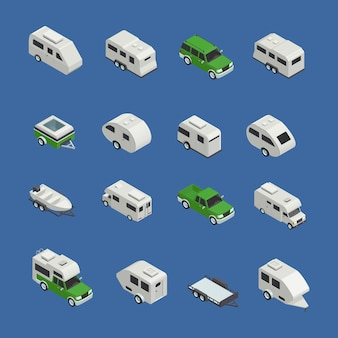 Freizeitfahrzeuge isometrische icons set