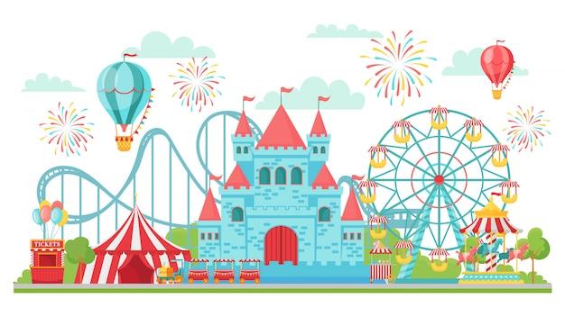 Freizeitpark. achterbahn, festivalkarussell und riesenradattraktionen isolierte illustration