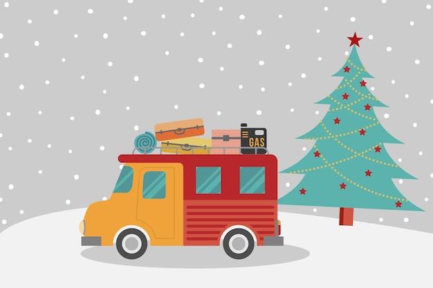 Freizeitwagen und weihnachtsbaum mit schneefall.