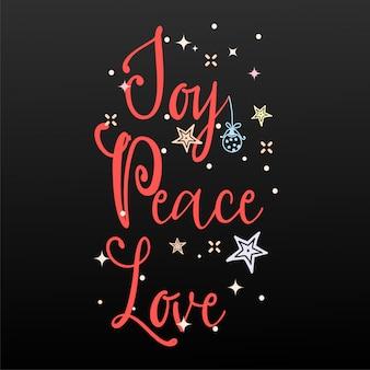 Freude, frieden, liebe. feiertags-fahne - slogan des neuen jahres