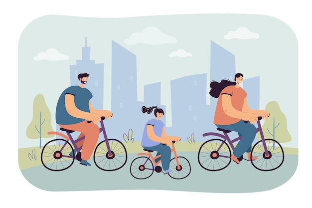 Freudige familienreitfahrräder im stadtpark isolierte flache illustration. karikaturillustration