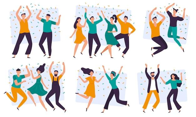 Freudige menschen. fröhliches paar, glückliches team, das zusammen feiert und gruppe der lächelnden leute