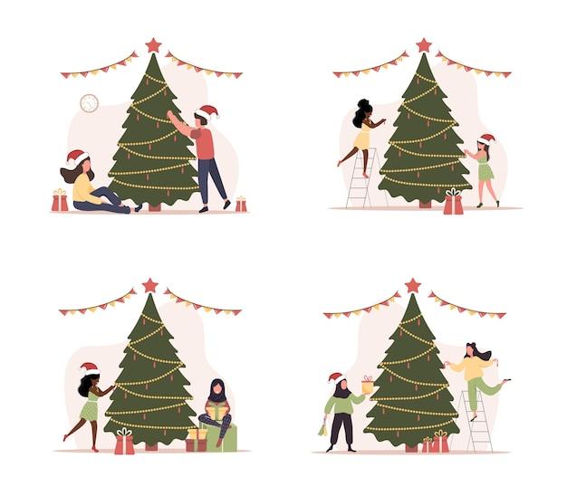 Freudige menschen schmücken den weihnachtsbaum. glückliche paare während der weihnachtsferienvorbereitungen.