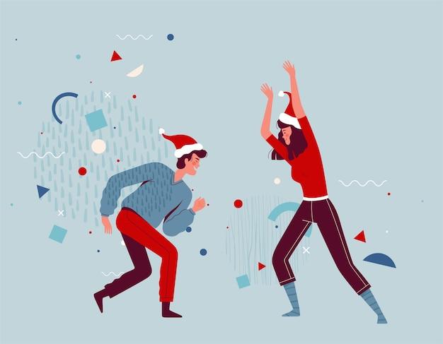 Freudige menschen tanzen zusammen und feiern weihnachten und neujahr. glückliches paar freut sich und hat spaß. cartoon flach.