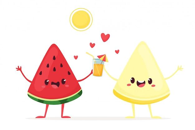 Freudige wassermelone und melone mit einem drink unter der sonne. illustration im flachen karikaturstil.