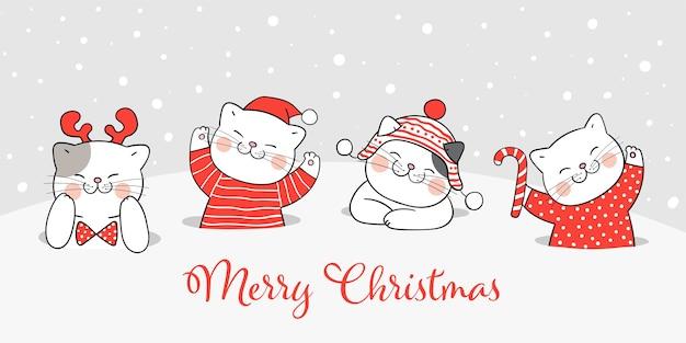 Freudige weihnachtskätzchenillustration