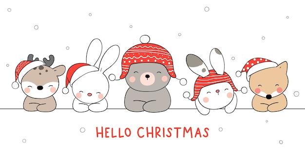 Freudige weihnachtstierillustration