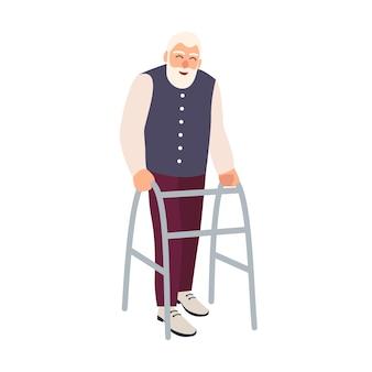Freudiger älterer mann mit gehendem rahmen oder wanderer isoliert. alter bärtiger männlicher charakter mit körperlicher behinderung oder beeinträchtigung