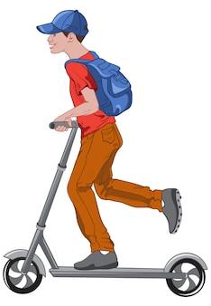 Freudiger junge, der einen tretroller reitet