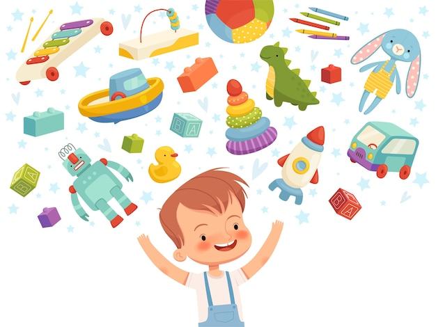 Freudiger junge mit verschiedenen spielzeugen herumfliegen. konzept kinderträume über kinderspielzeug. auf einem weißen hintergrund isoliert.