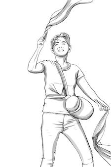 Freudiger junger mann, der mit pompons tanzt. sporttasche. strichzeichnungen