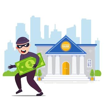 Freudiger räuber mit geld rennt von der bank weg. flache zeichenillustration