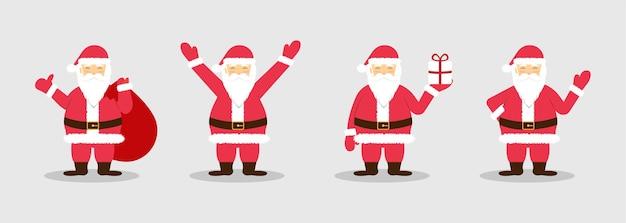 Freudiger weihnachtsmann mit taschengeschenken und geschenk in der hand.