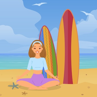 Freudiges mädchen, das yoga strand, urlaub ozean, bunte natur, gelb, heißer sand, karikaturillustration tut.