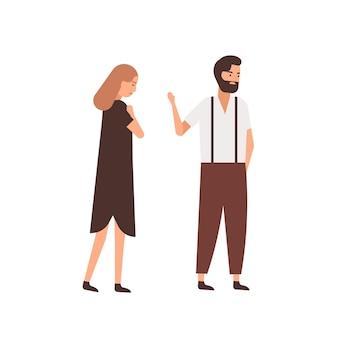Freund, der flache vektorillustration der freundin verlässt. depressive frau, die gleichgültigen partnerzeichentrickfiguren folgt. ehemann verabschiedet sich, abschiedsgeste an frau. trennungskonzept für paare.