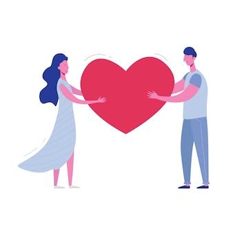 Freund und freundin halten herz. valentinstagskarte der liebenden, mann und frau. nettes junges romantisches paar im liebeskuscheln. im flachen cartoon-stil
