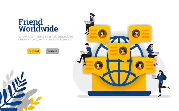 Freund weltweit für gemeinschaft, social media, parteien und gruppen vector illustrationskonzept