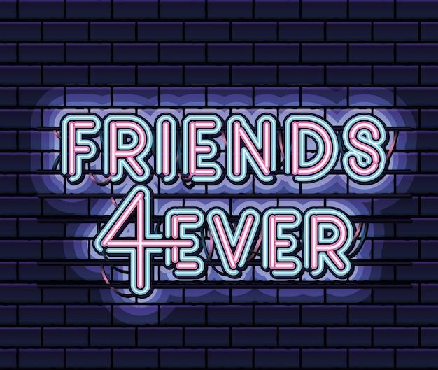 Freunde 4ever schriftzug in neonschrift der rosa und blauen farbe auf dunkelblauem illustrationsdesign