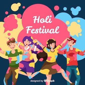 Freunde am holi festivalhintergrund