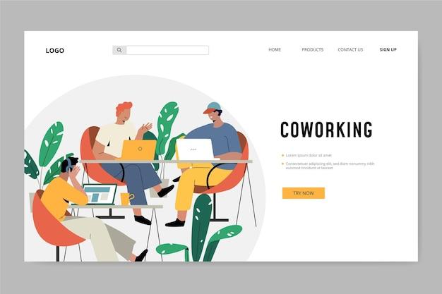 Freunde bei der arbeit coworking landing page