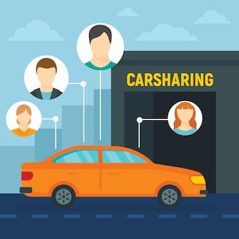 Freunde carsharing-konzepthintergrund, flache art