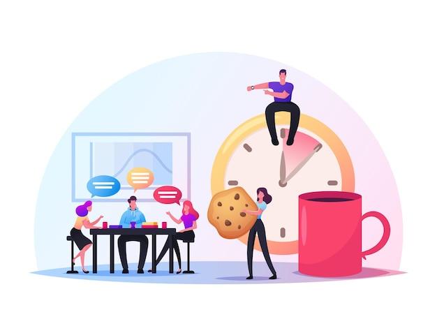 Freunde-charaktere treffen sich im café oder in der bar. gesellschaft von menschen in einer kaffeepause in einem modernen restaurant, die am wochenende miteinander kommunizieren, chatten, freizeit verbringen. cartoon-menschen-vektor-illustration