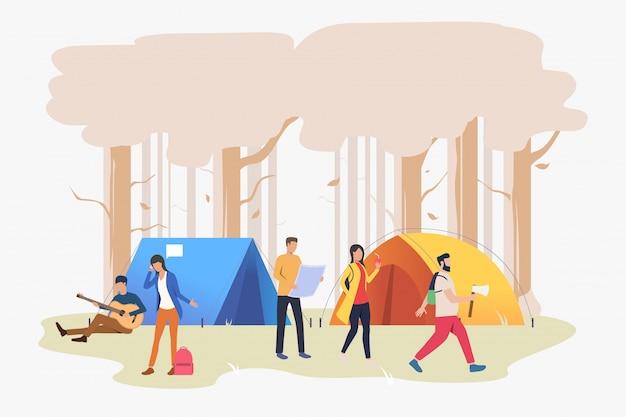 Freunde, die am campingplatz in der hölzernen illustration stillstehen