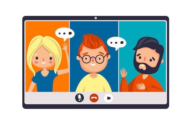 Freunde, die am selben online-meeting teilnehmen