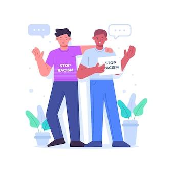 Freunde, die an der stop-rassismus-bewegung teilnehmen
