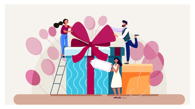 Freunde, die geburtstag feiern, geschenke verpacken