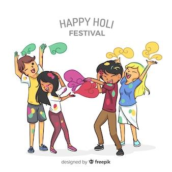 Freunde, die holi festivalhintergrund genießen