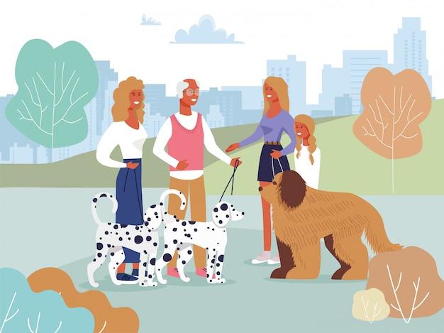 Freunde, die im park auf weg mit hundekarikatur sich treffen