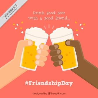 Freunde, die mit bier im flachen design-hintergrund