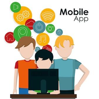 Freunde, die mobile apps vom computer verwenden