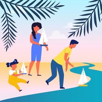 Freunde, die segelboot-flache illustration lassen