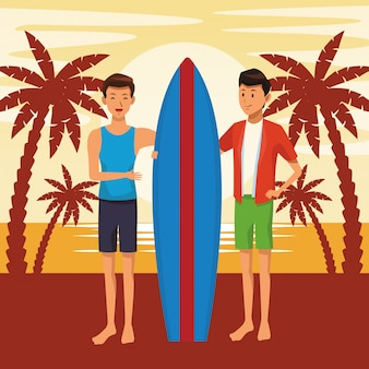 Freunde, die sommerkarikatur genießen