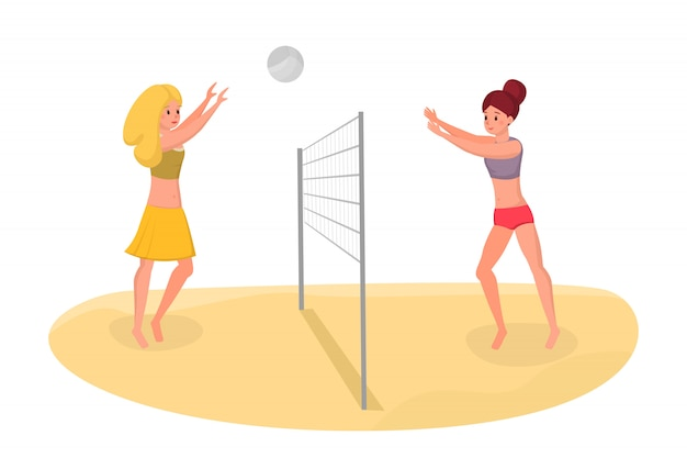 Freunde, die strandvolleyball-vektorillustration spielen. freizeit im urlaub aktiv verbringen
