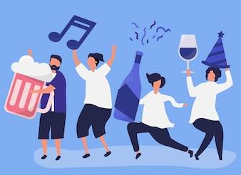 Freunde, die verschiedene Getränke feiern und trinken
