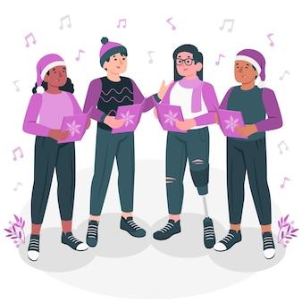 Freunde, die weihnachtsliedkonzeptillustration singen