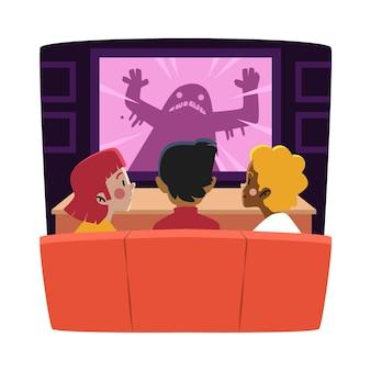 Freunde, die zu hause einen film schauen
