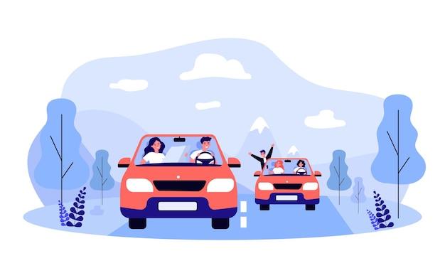 Freunde, die zusammen auf roadtrip gehen. flache vektorillustration. junge männer und frauen, die in zwei identischen autos entlang einer vorgeplanten route reisen. abenteuer, freundschaft, transport, reisen, autokonzept