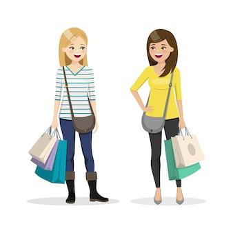 Freunde, die zusammen einkaufen