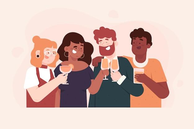 Freunde, die zusammen konzept rösten