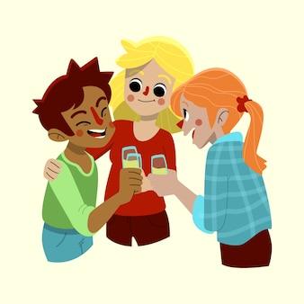 Freunde, die zusammen rösten