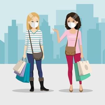 Freunde einkaufen tag mit maske auf einem stadthintergrund