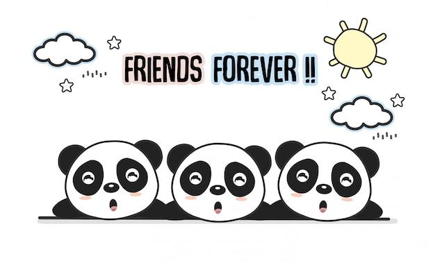 Freunde für immer grußkarte mit kleinen tieren. nette pandakarikatur-vektorillustration.