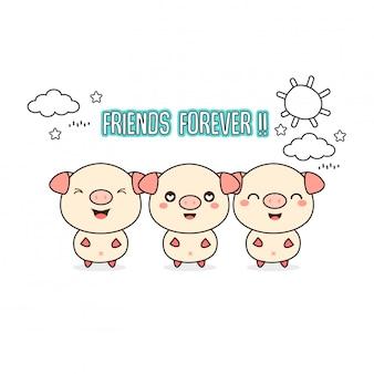 Freunde für immer grußkarte mit kleinen tieren. nette schweinekarikatur-vektorillustration.