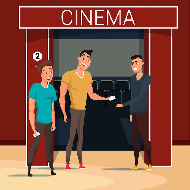 Freunde gehen zur kinoillustration, arbeiterzeichentrickfigur, die tickets prüft.